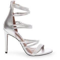 Steve Madden Women's Tierney Stilettos Sandals ($100) ❤ liked on Polyvore featuring shoes, sandals, silver leather, high heel shoes, evening sandals, strappy sandals, special occasion sandals and evening shoes