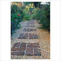 GAP Photos - Garden & Plant Picture Library - Gravel garden path with pattern of bricks - GAP Photos - Specialising in horticultural photography