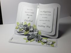 Easel card x Card in grey & white, ideal for… Card Making Templates, Card Making Tutorials, Making Ideas, Fancy Fold Cards, Folded Cards, Wedding Anniversary Cards, Wedding Cards, Crafters Companion Cards, Heartfelt Creations Cards