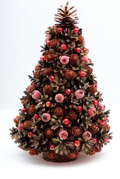 Country Christmas Crafts, Handmade Christmas Crafts, Christmas Tree Crafts, Christmas Tea, Xmas, Pink Christmas Tree Decorations, Cone Christmas Trees, Unique Christmas Trees, Pine Cone Decorations