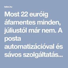 Most 22 euróig áfamentes minden, júliustól már nem. A posta automatizációval és sávos szolgáltatási díjjal készül, és a díj megfizetése után szállít majd ki. Minden