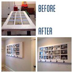 Recycled door-photo display with coat/hat rack