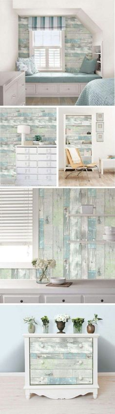 The uses for this Beachwood Peel and Stick Wallpaper from Jo-Ann are endless! Living Room Remodel Before and After - Diy Home Decor Crafts Coastal Living, Coastal Decor, Coastal Cottage, Cottage Art, Coastal Style, Cottage Style, Rustic Beach Decor, Rustic Room, Bedroom Rustic
