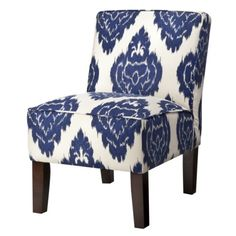 Armless Upholstered Slipper Chair - Abstract Blue Floral.Opens in a new window