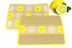 Linen Lemon Placemat Set of 4 Set of 2 Reversible Placemat Yellow and Beige Placemat Fabric Cloth Table Mat Quilted Padded RicRac Placemat