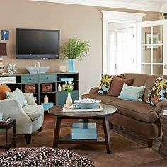 aqua/brown - I know this is a living room, but I like the color combo for a possible nursery!!