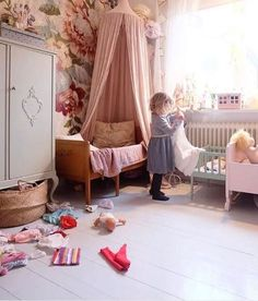New Boho Kids Room Wallpaper Ideas Girl Nursery, Girls Bedroom, Kids Room Wallpaper, Kids Room Design, Little Girl Rooms, Kid Spaces, Kids Decor, Room Inspiration, Decoration