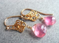 Pink Sunset soft pink chalcedony teeny chandelier earrings on Etsy, $32.00