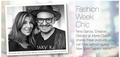 Fashion Week Chic | Nina Garcia, Creative Director at Marie Claire ® , shares three products you can't live without during New York Fashion Week!             Nina with Mary Kay Global Makeup Ambassador Luis Casco at NYFW