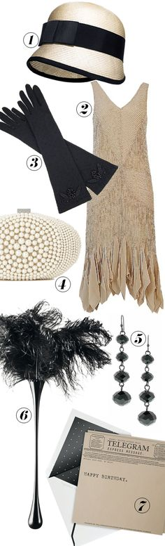 Accessories can add a period touch to a modern dress. Think cloche hats, beaded purses, and bead earrings.
