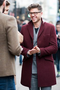 burgundy coat, grey suit