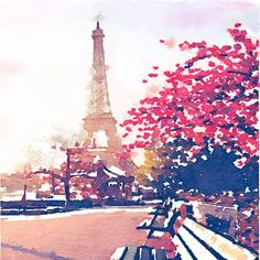 The Eiffel Tower in the Fall Watercolor Painting Art Print by melissapolomsky Paris Kunst, Paris Art, Paris Painting, Painting Prints, Painting Art, Painting Metal, Metal Art, Paris Eiffel Tower, Tour Eiffel