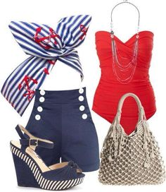 luv this retro look minus the shoes! I know the perfect anchor wedges from Miss L Fire that would rock this outfit.check out sailor on our site! 4th Of July Outfits, Summer Outfits, Cute Outfits, Work Outfits, Nautical Outfits, Nautical Fashion, Look Fashion, Womens Fashion, Fashion Trends