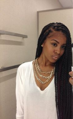 Medium sized box braids with big parts