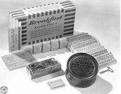 A US Army-issued K-ration breakfast unit, issued once per day along with supper and dinner units. K-rations, along with wet, canned C-rations, field-kitchen prepared B-rations, and chocolate D-rations, comprised the majority of WWII-era rations in the US Army