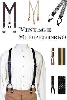 Find men's Victorian 1900s, 1920s, 1930s, 1940s vintage style suspender braces at VintageDancer.com