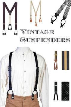 Find men's Victorian 1900s, 1920s, 1930s, 1940s vintage style suspender braces at VintageDancer.com