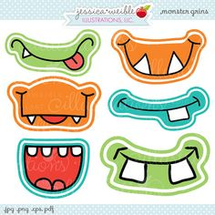 And theyre Grinning like little Monsters! This SUPER cute Monster Grin set of graphics comes with 6 unique smiling monster mouths. Print em out, tape em to a straw and youve got some serious fun going on! Great for Monster Birthday Parties!    Graphics are created in vector image software and are saved at High Quality 300 dpi Resolution.    Image Size:     -Graphics will be 7 inches at their tallest or widest point.    Formats Included:     -High Resolution JPG with White Background   -High…