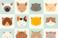 Сute cats icon, cat's head, cat - Illustrations