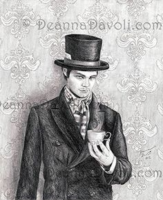 """Mad Hatter Art Print Alice in Wonderland Art Fairy Tale Artwork 8 x10"""", 11""""x14"""". Ahh, the Mad Hatter, cunning, clever, crazy and alluring. My depiction of the Mad Hatter is placed in a Victorian setting. He waits for Alice holding his magical cup of tea. He does not appear insane and that is why Alice trusts him. *Special thank to *lindowyn-stock for the photo reference."""