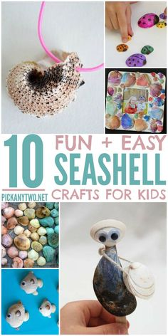 Fun and Easy Seashell Crafts for Kids! Perfect for toddlers, preschoolers, and school-age children after your summer beach vacation. Lots of great ideas! Summer Crafts For Kids, Summer Activities For Kids, Easy Crafts For Kids, Toddler Crafts, Diy For Kids, Beach Activities, Big Kids, Sea Crafts, Seashell Crafts
