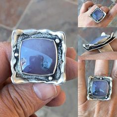 Purple Salvia Chalcedony and Fine Silver Ring. Handmade