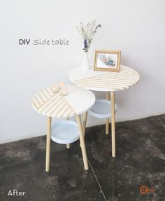 Make It: DIY Side Table from Old Paint Buckets » Curbly   DIY Design Community - would gold-dip the legs, though, and maybe stain darker