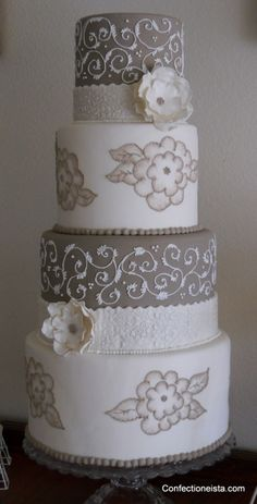 Taupe & White  By confectioneista on CakeCentral.com