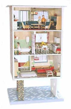 "Puppenhäuser Museum Doll Houses and Dolls of the and / ""HIGHRISE"" =GERMAN Puppenhäuser und Puppenstuben der und Jahre / ""Hochhaus"" # 2 Antique Dollhouse, Modern Dollhouse, Diy Dollhouse, Barbie Furniture, Dollhouse Furniture, Vintage Furniture, Miniature Rooms, Miniature Houses, Doll House Flooring"