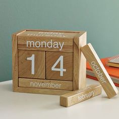 An interesting concept for a calendar, although a bit complicated to operate on a regular basis. It is sold by West Elm.