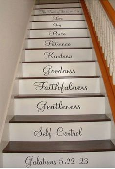 Galatians Stair Riser Decals Stair Decals Fruit of the Spirit Decals Inspiration Quotes Stair Decals Stair Stickers Wall Decals Painted Staircases, Painted Stairs, Basement Stairs, House Stairs, Oak Stairs, Stair Quotes, Wall Quotes, Stair Stickers, Wall Stickers