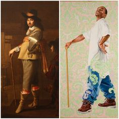 "Wonderful contemporary update of 17th Cent. ""Portrait of Andries Stilte"" by Kehinde Wiley (original by Verspronck)."