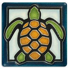 4x4 Turtle - Light Blue from Motawi Tileworks