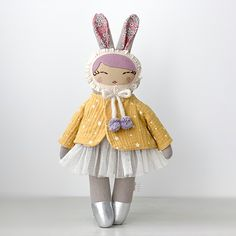 Bunny Girl w/Jacket - Guadalupe Creations Viscose Fabric, Wool Fabric, Cotton Fabric, Summer Jacket, Girls Wear, Bedtime, Making Out, Gifts For Kids, Hand Sewing