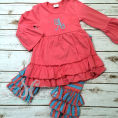 Coral Tunic Top with Turquoise and Coral Ruffle Pants Monogram
