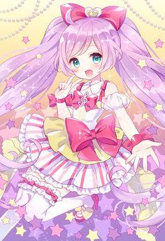 ✮ ANIME ART ✮ pastel. . .magical girl. . .hair bow. . .twin tails. . .ruffles. . .ribbons. . .stockings. . .stars. . .sparkling. . .cute. . .kawaii