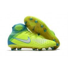 Nike Womens Magista Obra II FG High Top Soccer Cleats - Volt Chlorine  Blue White Store 338ba5bc9