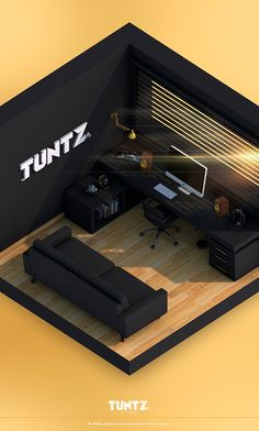 Isometric Tuntz Office, by Lua Matos on Behance. Home Studio Setup, Music Studio Room, Home Office Setup, 3d Studio, Creative Studio, Small Game Rooms, Bedroom Setup, Video Game Rooms, Gaming Room Setup