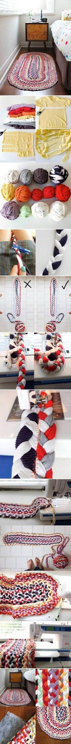 Tシャツヤーンを三つ編みジグザグミシンで楕円形マット