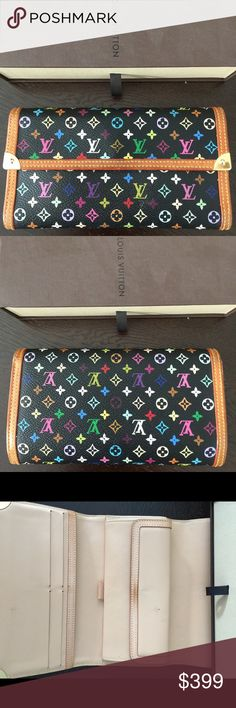 Wallet Authentic Multicolor Louis Vuitton bifold wallet monogram, excellent condition.  Original box and dustbag included. Matching bag sold separately. Louis Vuitton Bags Wallets