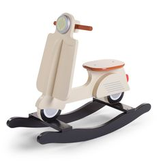 The cream-coloured rocking scooter will give your nursery a bit of European flair. The rocking scooter features long runners to minimize tipping so your child can rock safely for many years and is the perfect way to teach your little one balance and co-or Kids Ride On Toys, Kids Toys, Kids Rocking Horse, Mint Blue, Baby Furniture, Stylish Kids, Wood Toys, Baby Room, Kid Furniture