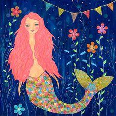Pink Mermaid Painting, Whimsical Mermaid Nursery Decor, Children Decor Art Print on Wood by Sascalia