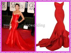 Wholesale Celebrity Dress - Buy Custom Eva Longoria Mermaid Strapless Sweetheart Ruched Red Satin Beauty Pageant Dresses 2013 Formal Evening...