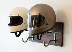Double Handmade Helmet Rack & Jacket Hook por EdwardRichie en Etsy