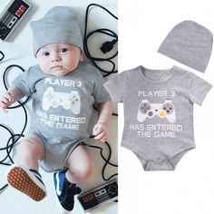 Details about Newborn Baby Boy Girl Romper + Hat Set Newborn Bodysuit Jumpsuit Clothes Outfits Cute Baby Boy Outfits, Boys Summer Outfits, Summer Boy, Toddler Outfits, Spring Summer, Organic Baby Clothes, Baby & Toddler Clothing, Boy Clothing, Clothing Sets