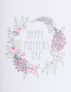 """Happy Mother's Day"" Floral Wreath Card"