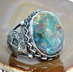 Silver Mens Ring Bloodstone Sterling 925 unique handcrafted Jewelry #Solitaire