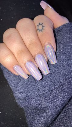 holographic long nails. CND cake pop with holographic glitter
