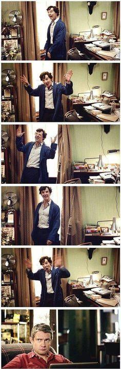 John Watson (Martin Freeman) and Sherlock Holmes (Benedict Cumberbatch). Sherlock Fandom, Sherlock John, Sherlock Bbc Funny, Watson Sherlock, Jim Moriarty, Sherlock Quotes, Johnlock, Andrew Scott, Doctor Who