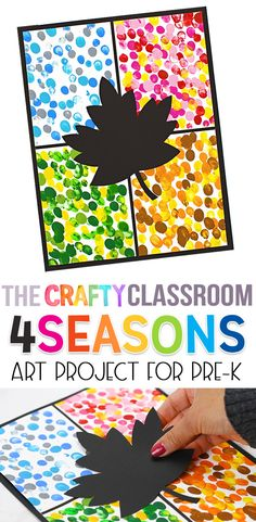 Grab your kids and have fun with our Four Seasons Art Project! It's easy to assemble with our step by step tutorial & visual guide. Now is the perfect time to talk about our beautiful 4 season cycle! #craftyclassroom #fourseasons #preschool #artprojects #spring #summer #winter #fall